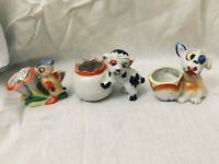 3 Vintage 50s Kitsch Little Planter Figurine Lot Bird and Dogs Made in Japan