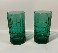 2 Anchor Hocking Tartan Plaid Emerald Juniper Green Drinking Glass Tumblers