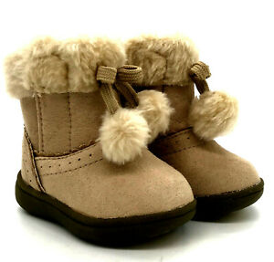 Faded Glory Footwear Faux Fur Boots Infant Girl Size 2 Brown New/Tags Pom Poms