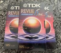 TDK Revue T-120 6 Hours Blank VHS Video Cassette Tapes Brand New Sealed Lot Of 3