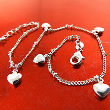FSA775 GENUINE REAL 925 STERLING SILVER S/F LADIES HEART XL BRACELET ANKLET