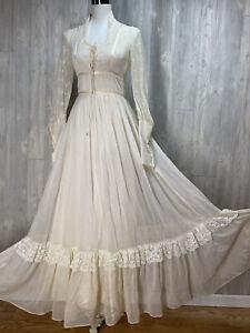 Vtg 70s Gunne Sax Renaissance Prairie Ivory Cottagecore Mutton Sleeve Dress 9