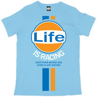 Batch1 'LIFE IS RACING' Mens T-Shirt - Steve McQueen Vintage Retro Fashion Print