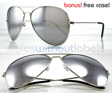 Extra Large Oversized Aviator Silver Mirrored Sunglasses Classic Free Case S077