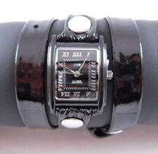 LA MER Watch Black Patent Simple Leather Wrap