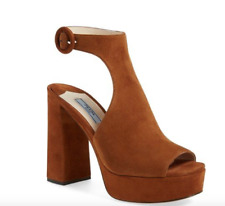 46aac2f23  890 PRADA CUT OUT SUEDE ANKLE STRAP PEEP TOE PLATFORM SANDAL MORO 36.5