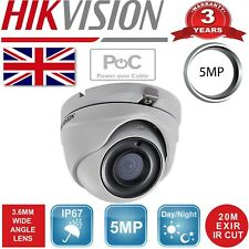 HIKIVISION PoC 5MP  DS-2CE56H0T-ITME 3.6MM CCTV CAMERA WIDE ANGLE IN/OUTDOOR UK