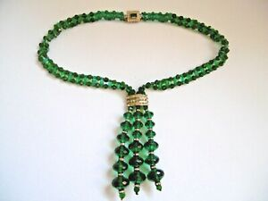 LOVELY ORIGINAL ART DECO GREEN FACETED EMERALD PASTE GLASS BEAD NECKLACE C1930