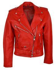 Blouson cuir perfecto femme style Brando biker motard couleur rouge pétante