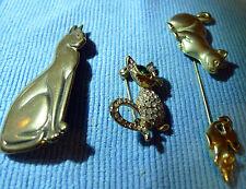 Vintage Estate Lot 3 CAT Pin Brooche Stick Pin AJC Mark Rhinestone