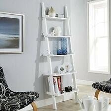 White Ladder Shelving Unit 5 Tier Display Stand - Bookcase Shelf Wall Rack ...