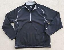 Slazenger Men's Half Zip Fleece Top Sweatshirt Large Long Sleeve  Black w Gray
