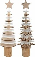 25cm Mini Desk Wooden Christmas Tree White & Natural Christmas Decoration