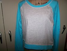 New XL C9 Champion Gray Blue Teal Long Sleeve Cropped Crop Athletic Sweatshirt