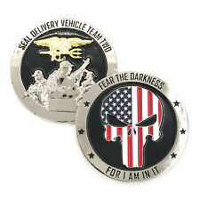 SEAL Delivery Vehicle Team Two SDVT-2 Challenge Coin Punisher 3D Silver
