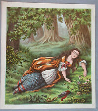 BEAUTIFUL LADY NAPPING IN FOREST ANTIQUE LITHOGRAPH ART PRINT 1868