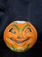 Vintage 1930 Paper Mache Halloween Jack O Lantern Pumpkin All Original
