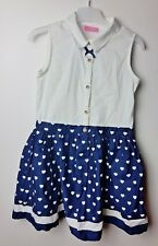 LC Waikiki Girl's White/Blue Hearts Shortsleeve Dress Size 5-6 Years