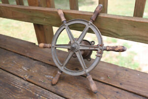 Antique Wilcox Crittenden Nautical Ship's Wheel and Rope Base
