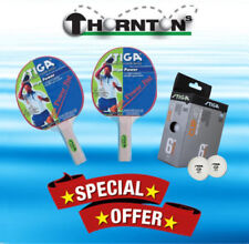 Table Tennis Bat Set 2 x Stiga Pimple Bats + 6 Balls