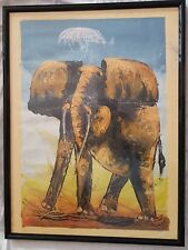 Framed African Abstract Paintings of Elephant On Canvas