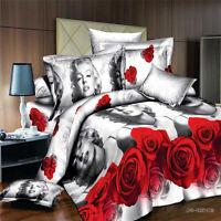 Queen Size Bed Quilt/Doona/Duvet Cover Set Pillow Cases Rose Marilyn Monroe
