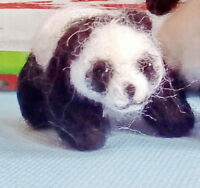 Needle Felted Animal little 1 panda Wool Art Sculpture ooak miniature handmade