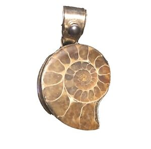 Rare Fossil Brown Ammonite Gemstone 925 Sterling Silver Necklace pendant