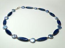 Kyanit Disthen & SüßwasserperlenUNIKAT Kette Collier Blue Dreams 925 Silber Blau