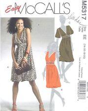 Women's Low Cut Dress V Neck Bubble Hem Sleeveless Sewing Pattern UNCUT 16 18 20