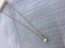Gold tone pendant pearl bead & diamantés necklace short