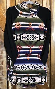 Lularoe Amber Hoodie Southwest Cowgirl Aztec Print Sz XL