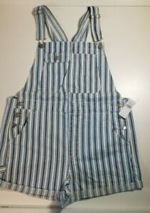 American Eagle Women's Overall Stripe Jean Shorts Size Large NWT $69.95