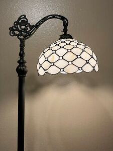 Enjoy Tiffany Style Floor Lamp Crystal Bean Stained Glass Antique Vintage H62.5""
