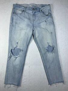 Old Navy Boyfriend Destroyed Jeans Womens 12 Light Sky Blue Denim Fraying Holes