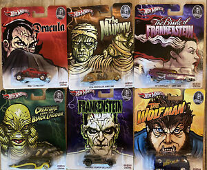 6 LOT Hot Wheels Real Riders Monsters RARE 2012 dracula Wolfman Frankenstein NEW