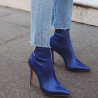 Women Elegant High Heel Stiletto Stretch Pointy Toe Solid Color Ankle Sock Boots