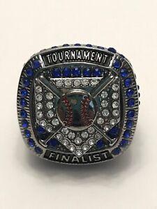 New Baseball Tournament Finalist Ring SZ 8.5 Blue Rhinestones