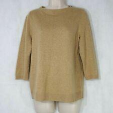 Talbots Cashmere Sweater Crewneck Women Petite Size 0XP Tan Long Sleeve