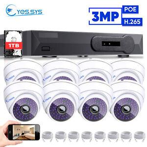 Eyes.sys 1TB HDD POE NVR 8PCS 3.0MP HD CCTV IP DOME IR Camera Security System