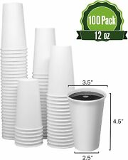 12 Oz 100 Cups Togo Disposable White Paper Coffee Cups