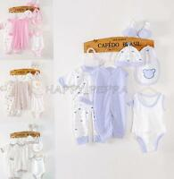 8PCS Newborn Infant Girls Boys Baby Cotton Romper Hat Outfits Clothes Photo 0-3M