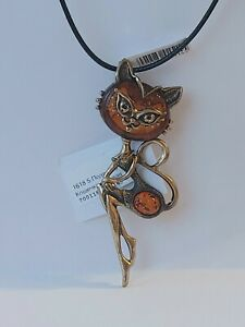 AMBER /Solid Brass Lady Cat NECKLACE / made in Russia/ New!
