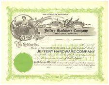 Jeffery Hardware Company. Stock Certificate. Red Lodge, Montana