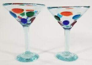 2 Hand Blown Mexican Margarita or Martini Glasses Colorful Splotches Rare! EUC