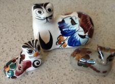 Vintage Mexico Folk Art Hand Painted Pottery Sitting Trio Of Cat Statues