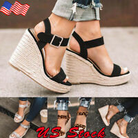Women's Wedge High Heels Sandals Straw Ladies Open Toe Buckle  Platform Shoes US
