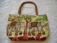 Elephant Safari Jungle Purse Handbag Sequins Beads Yellow Green Monkeys African