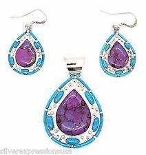 Sterling Silver Pendant & Earrings Purple Turquoise & Sleeping Beauty Turquoise