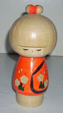 Vintage Japanese Wooden Kokeshi Doll with Orange Kimono